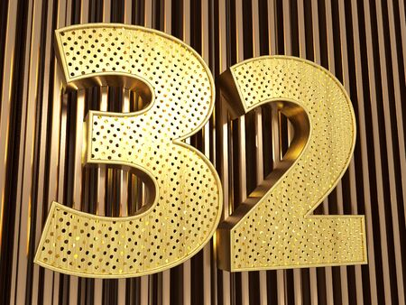 number 32 (number thirty-two) perforated with small holes on the metal background. 3D illustration