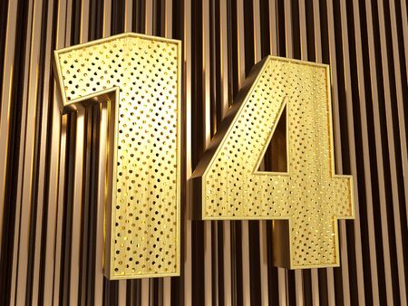 number 14 (number fourteen) perforated with small holes on the metal background. 3D illustration Banco de Imagens