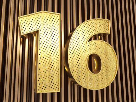 number 16 (number sixteen) perforated with small holes on the metal background. 3D illustration Banco de Imagens
