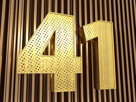 number 41 (number forty-one) perforated with small holes on the metal background. 3D illustration