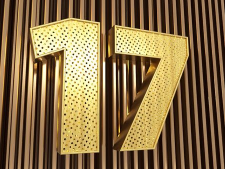 number 17 (number seventeen) perforated with small holes on the metal background. 3D illustration Banco de Imagens