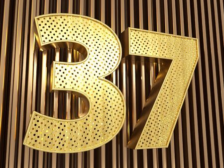 number 37 (number thirty-seven) perforated with small holes on the metal background. 3D illustration Banco de Imagens