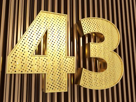 number 43 (number forty-three) perforated with small holes on the metal background. 3D illustration