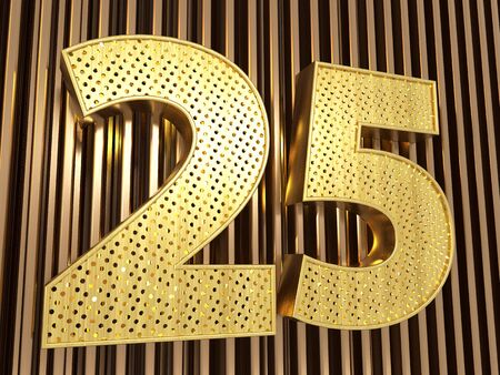 number 25 (number twenty-five) perforated with small holes on the metal background. 3D illustration