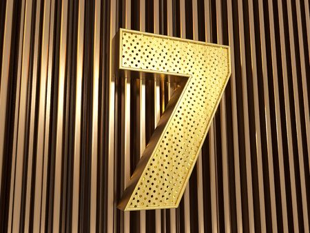 number 7 (number seven) perforated with small holes on the metal background. 3D illustration Banco de Imagens