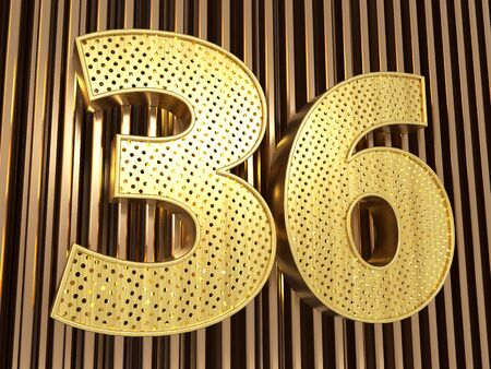 number 36 (number thirty-six) perforated with small holes on the metal background. 3D illustration