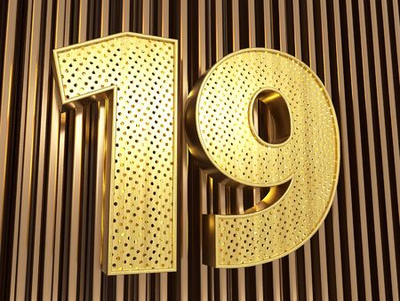 number 19 (number nineteen) perforated with small holes on the metal background. 3D illustration Banco de Imagens