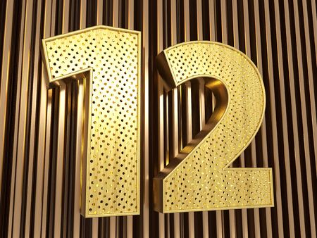 number 12 (number twelve) perforated with small holes on the metal background. 3D illustration