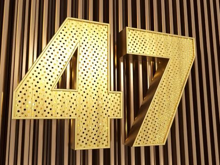 number 47 (number forty-seven) perforated with small holes on the metal background. 3D illustration