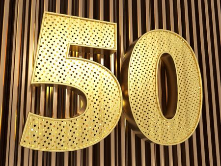 number 50 (number fifty) perforated with small holes on the metal background. 3D illustration
