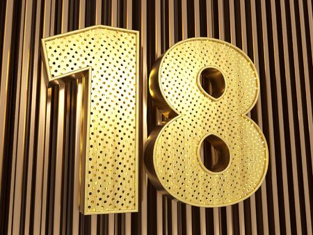 number 18 (number eighteen) perforated with small holes on the metal background. 3D illustration Banco de Imagens