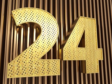 number 24 (number twenty-four) perforated with small holes on the metal background. 3D illustration