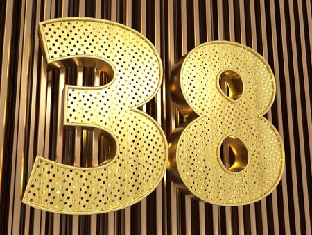 number 38 (number thirty-eight) perforated with small holes on the metal background. 3D illustration
