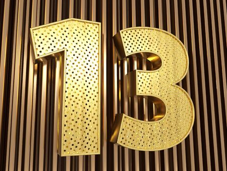 number 13 (number thirteen) perforated with small holes on the metal background. 3D illustration