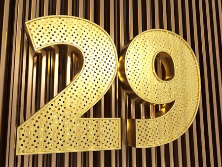 number 29 (number twenty-nine) perforated with small holes on the metal background. 3D illustration