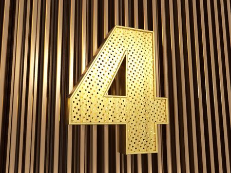 number 4 (number four) perforated with small holes on the metal background. 3D illustration