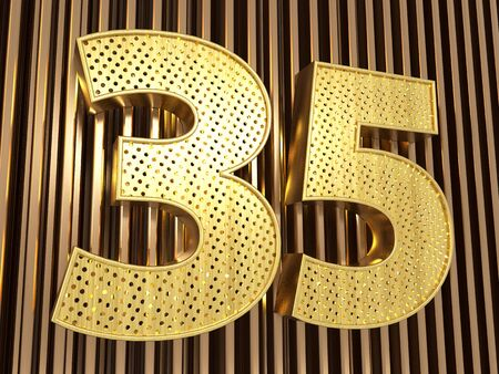 number 35 (number thirty-five) perforated with small holes on the metal background. 3D illustration