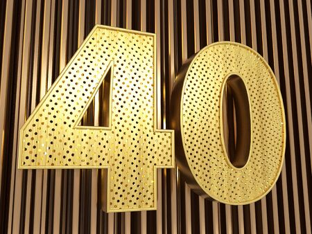 number 40 (number forty) perforated with small holes on the metal background. 3D illustration Banco de Imagens