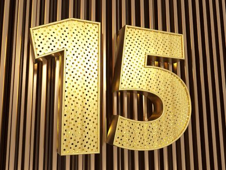number 15 (number fifteen) perforated with small holes on the metal background. 3D illustration