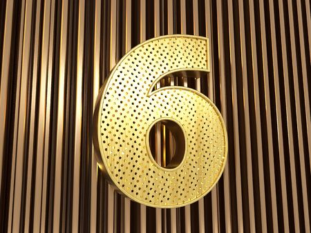 number 6 (number six) perforated with small holes on the metal background. 3D illustration Banco de Imagens