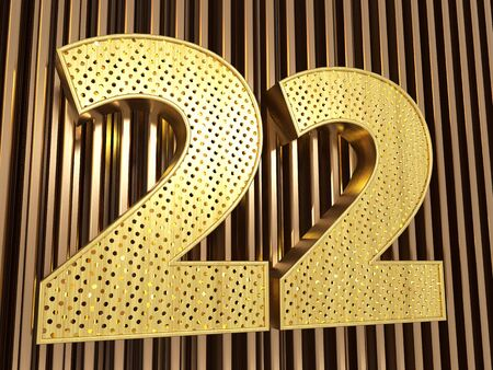 number 22 (number twenty-two) perforated with small holes on the metal background. 3D illustration Banco de Imagens