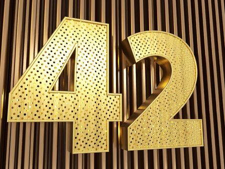 number 42 (number forty-two) perforated with small holes on the metal background. 3D illustration