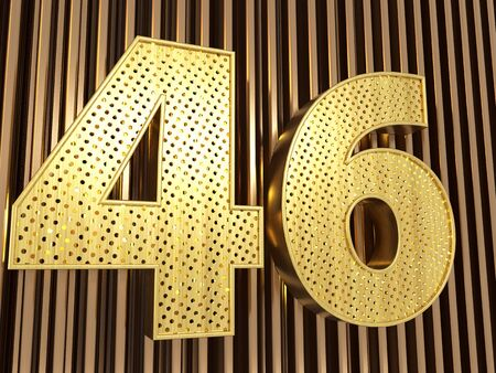 number 46 (number forty-six) perforated with small holes on the metal background. 3D illustration Banco de Imagens