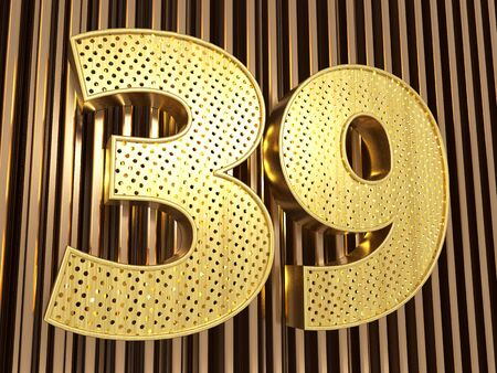 number 39 (number thirty-nine) perforated with small holes on the metal background. 3D illustration
