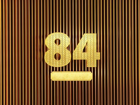 number 84 (number eighty-four) perforated with small holes on the metal background. 3D illustration