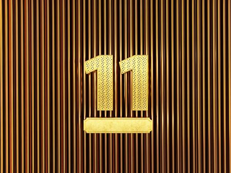 number 11 (number eleven) perforated with small holes on the metal background. 3D illustration Фото со стока
