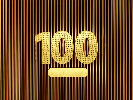 number 100 (number one hundred) perforated with small holes on the metal background. 3D illustration
