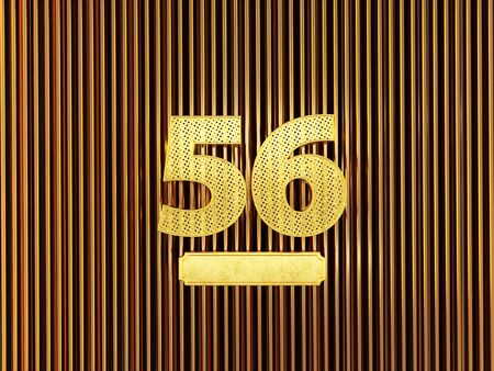 number 56 (number fifty-six) perforated with small holes on the metal background. 3D illustration