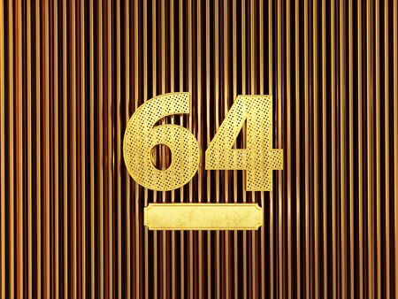 number 64 (number sixty-four) perforated with small holes on the metal background. 3D illustration Фото со стока