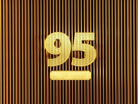 number 95 (number ninety-five) perforated with small holes on the metal background. 3D illustration Фото со стока