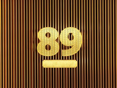 number 89 (number eighty-nine) perforated with small holes on the metal background. 3D illustration Фото со стока