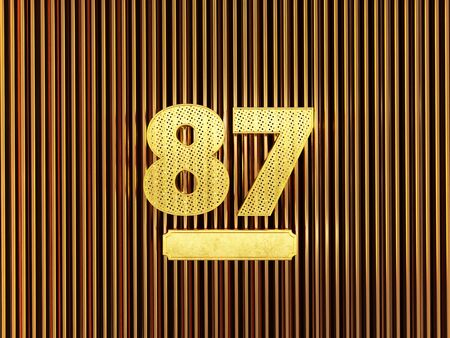 number 87 (number eighty-seven) perforated with small holes on the metal background. 3D illustration Фото со стока