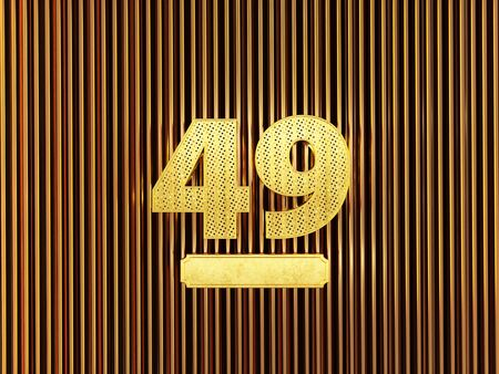 number 49 (number forty-nine) perforated with small holes on the metal background. 3D illustration