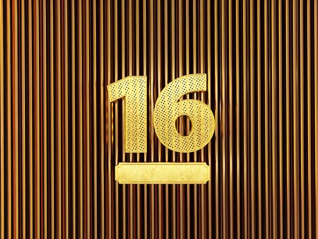 number 16 (number sixteen) perforated with small holes on the metal background. 3D illustration Фото со стока