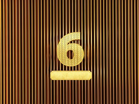 number 6 (number six) perforated with small holes on the metal background. 3D illustration Фото со стока