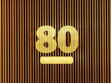 number 80 (number eighty) perforated with small holes on the metal background. 3D illustration