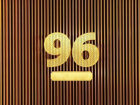 number 96 (number ninety-six) perforated with small holes on the metal background. 3D illustration
