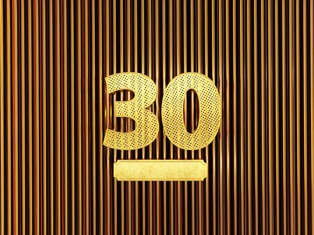 number 30 (number thirty) perforated with small holes on the metal background. 3D illustration