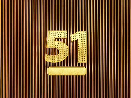 number 51 (number fifty-one) perforated with small holes on the metal background. 3D illustration