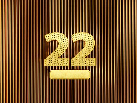 number 22 (number twenty-two) perforated with small holes on the metal background. 3D illustration Фото со стока