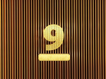 number 9 (number nine) perforated with small holes on the metal background. 3D illustration
