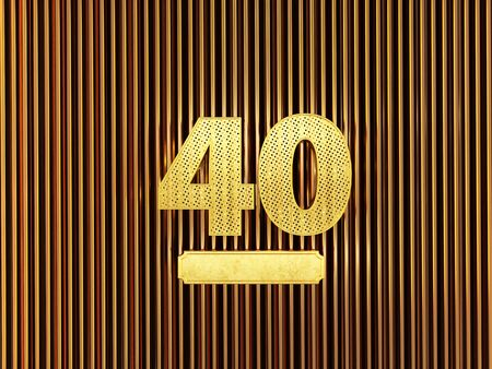 number 40 (number forty) perforated with small holes on the metal background. 3D illustration Фото со стока