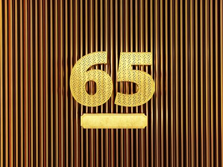 number 65 (number sixty-five) perforated with small holes on the metal background. 3D illustration Фото со стока