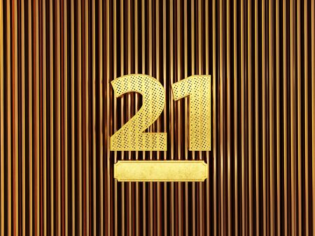 number 21 (number twenty-one) perforated with small holes on the metal background. 3D illustration