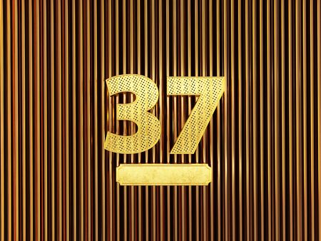 number 37 (number thirty-seven) perforated with small holes on the metal background. 3D illustration 스톡 콘텐츠