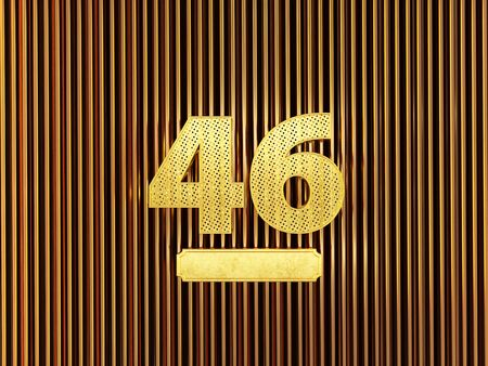 number 46 (number forty-six) perforated with small holes on the metal background. 3D illustration Фото со стока